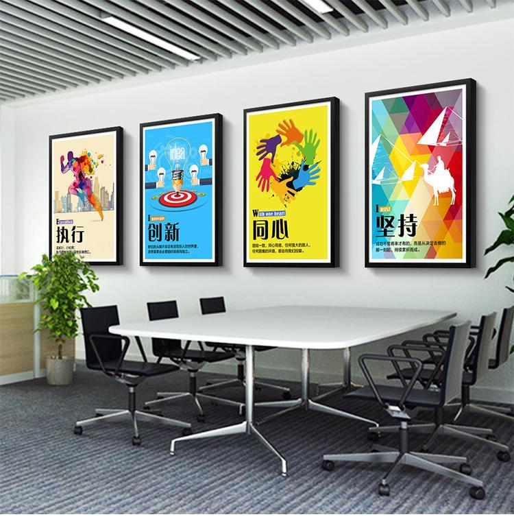 公司办公室 挂画企业文化背景墙 励志装饰画 会议室壁画 创意标语定制