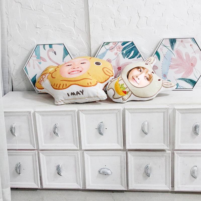 DIY抱枕定制卡通枕头可爱靠枕沙发枕原创人形玩偶萌家庭头像订制