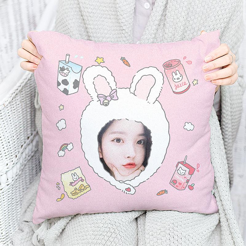 方形抱枕定制双面靠枕照片枕头个性DIY创意卡通棉质头像抠图家用