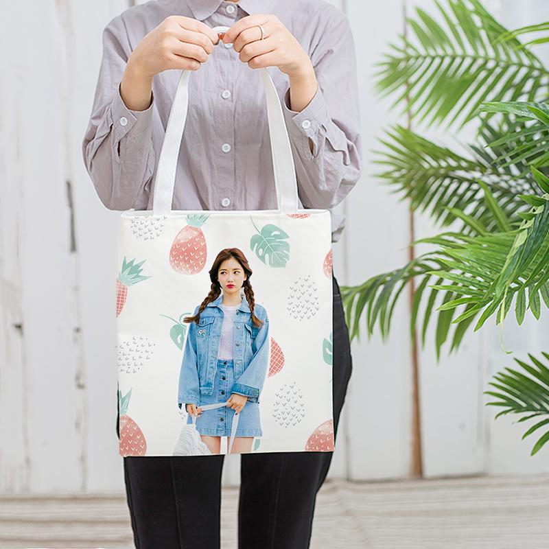 帆布袋定制DIY手工包照片帆布包手提布制个性拎包棉加固ins头像