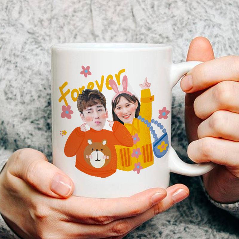 纪念水杯全家福定制马克杯生日陶瓷杯满月照片杯头像DIY情侣礼物