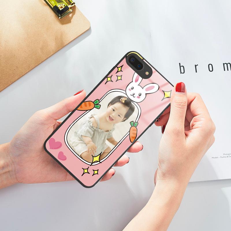玻璃手机壳来图定制头像照片个性保护壳水果明星原创情侣亲子卡通